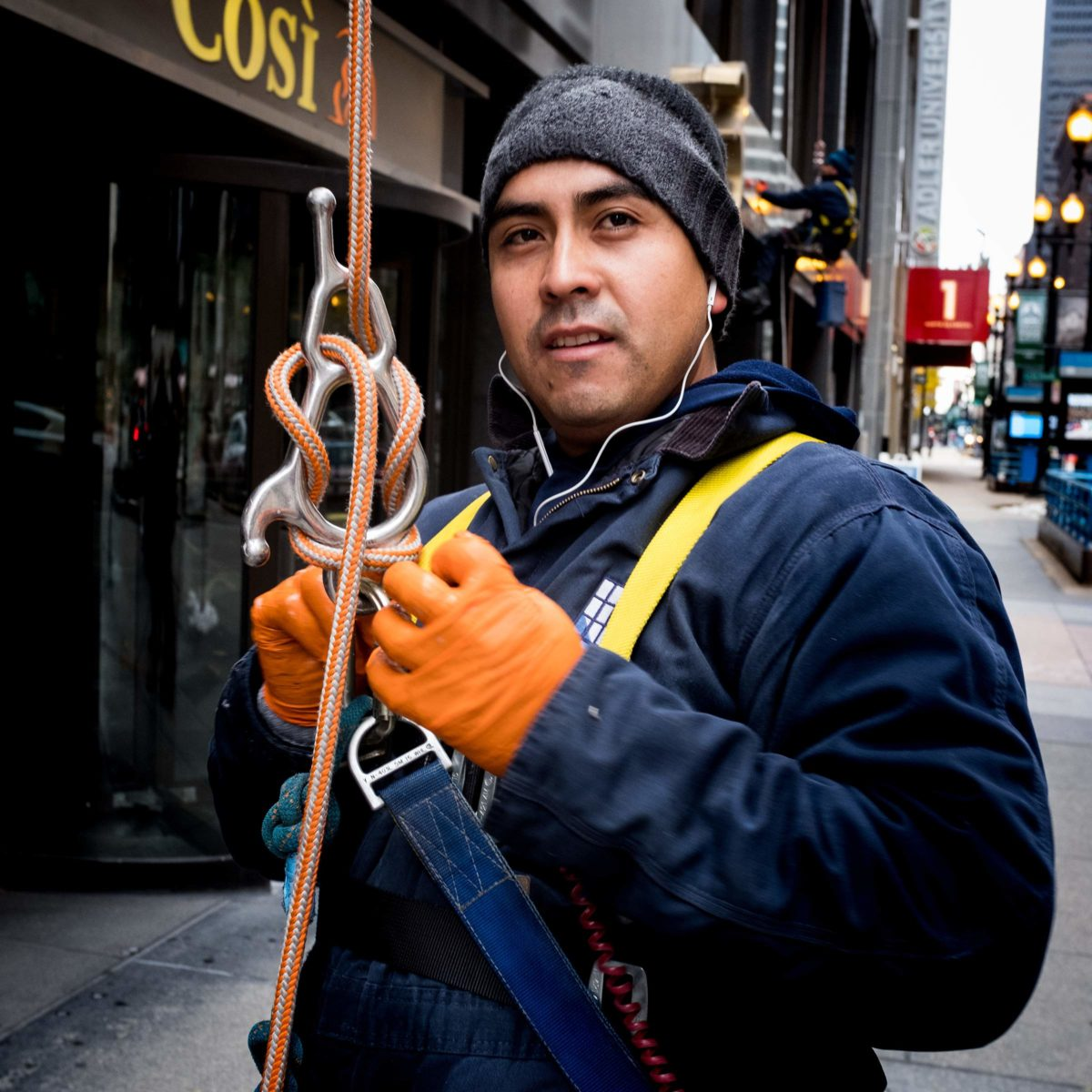 Tom Schmidt Photo Chicago Saturday Morning Window Washers Portrait Downtown Loop Dirty Job